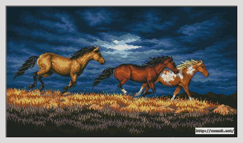 Схема вышивки крестом лошади большого размера 25
