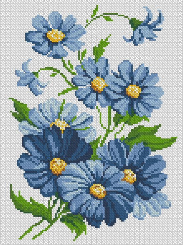 Синие цветы110x150 крестов12