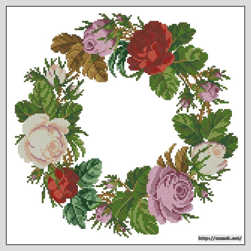 Вышивка венков из цветов