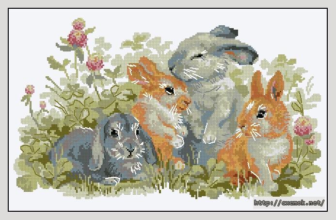 Вышивка зайцы кролики 22