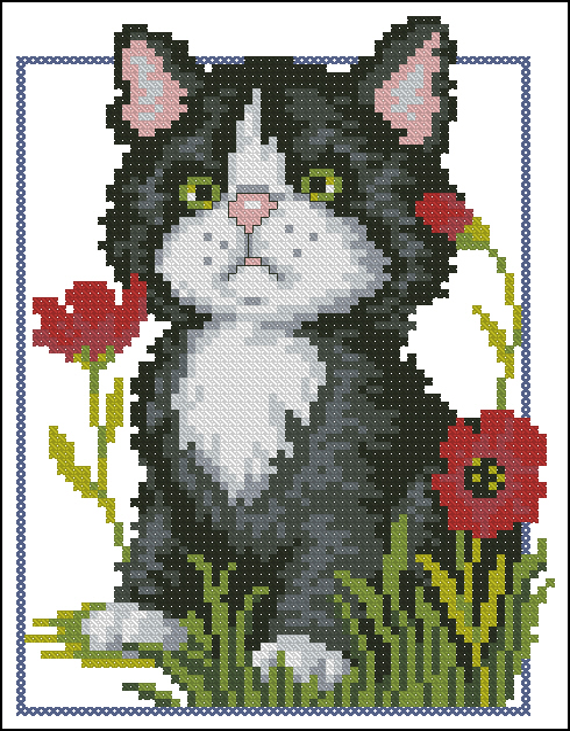 Черный котенок66x87 крестов13
