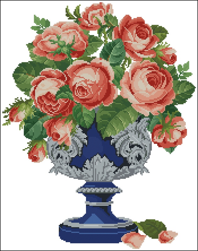 Скачать схему вышивки roses in blue and silver cup