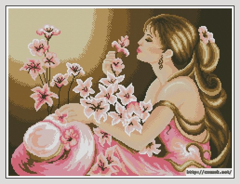 вышивка дамы в розовом полетов, чего тут