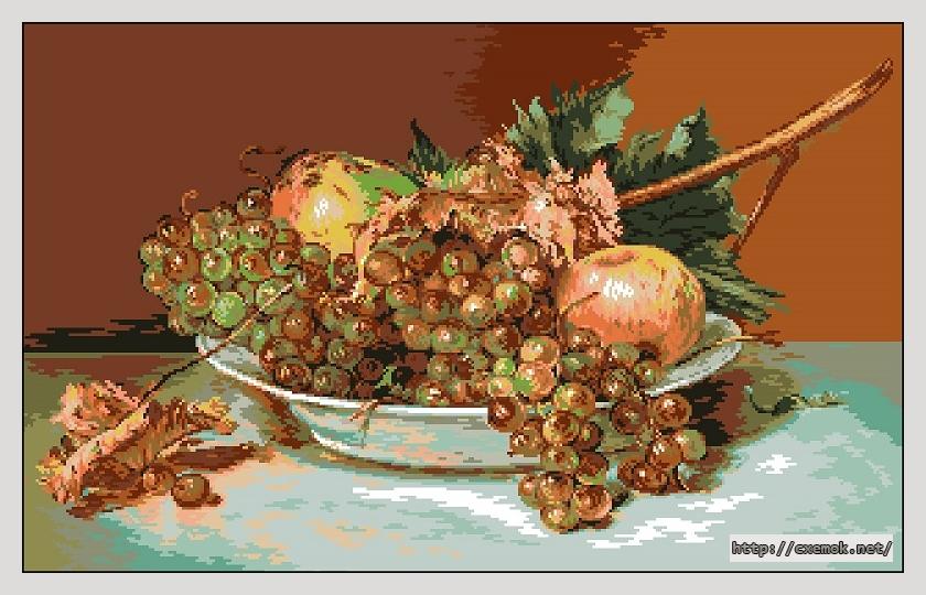 Гроздья винограда и яблоки