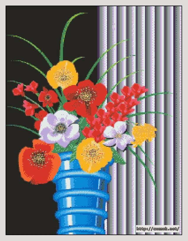 Голубая ваза200x260 крестов40