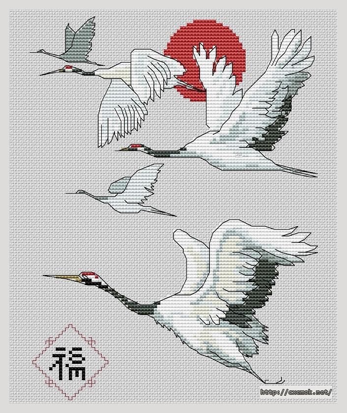 Японские журавлики100x120