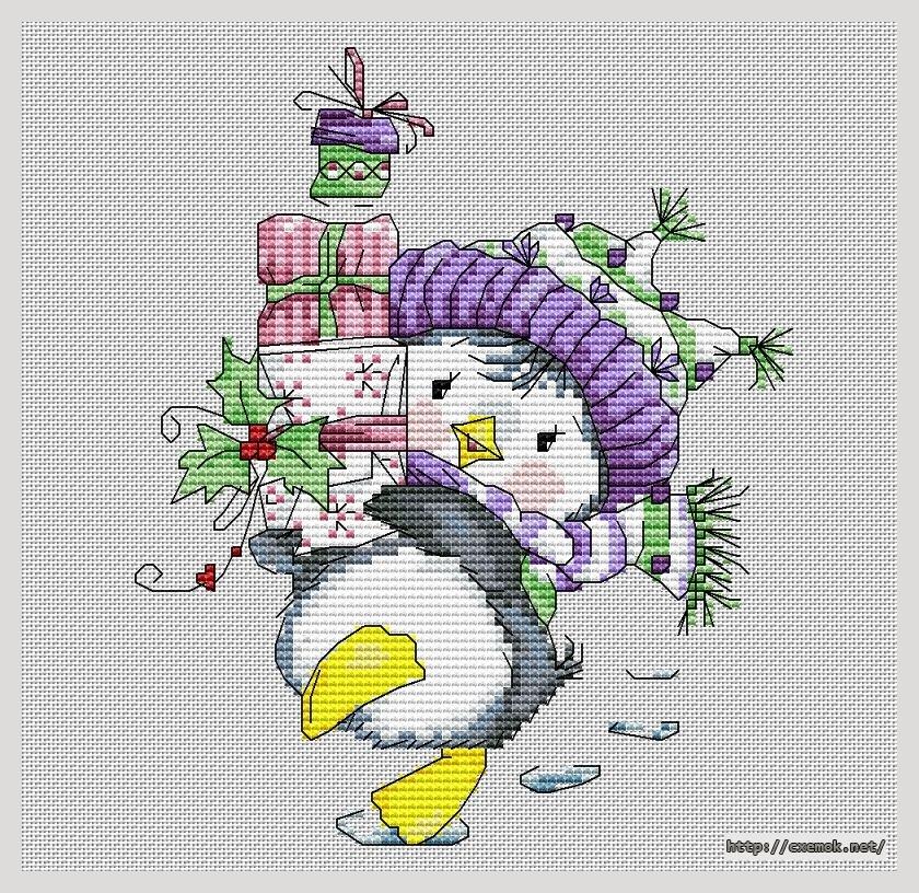 Скачать схемы вышивки пингвин