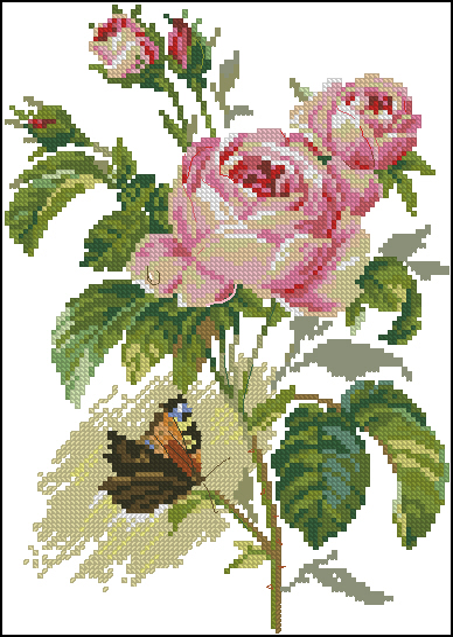 Роза и бабочка95x137 крестов42