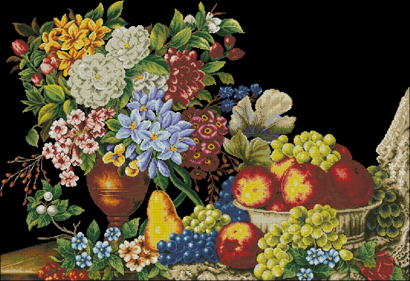 Вышивка фруктов с цветами