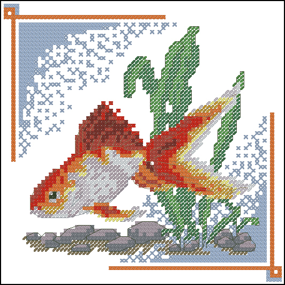 Скачать схему для вышивки крестом золотая рыбка