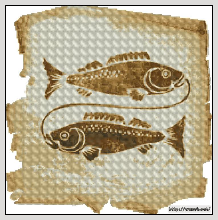 """Сачать схему вышивки """"Рыбы"""""""