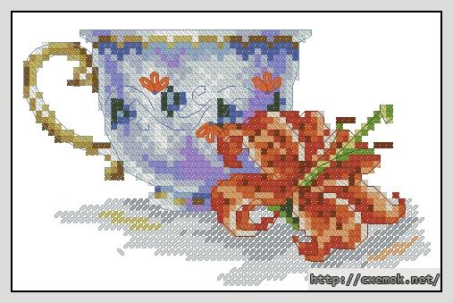 Чашка и лилия69x45 крестов22