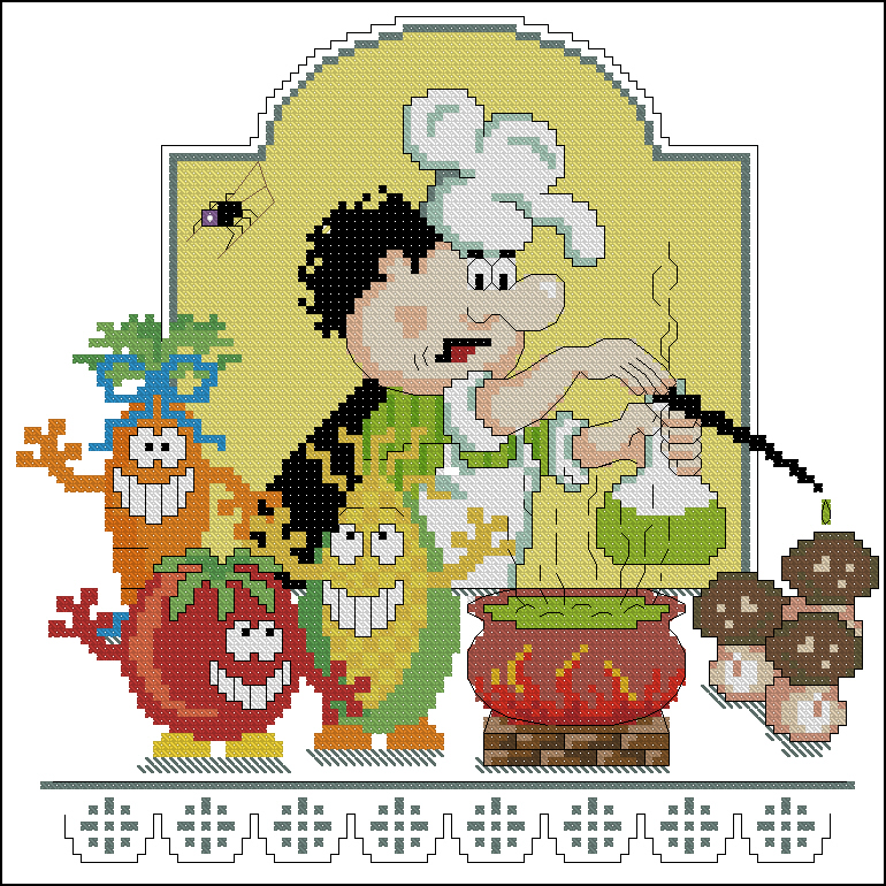 Cхемы вышивка шеф-повар