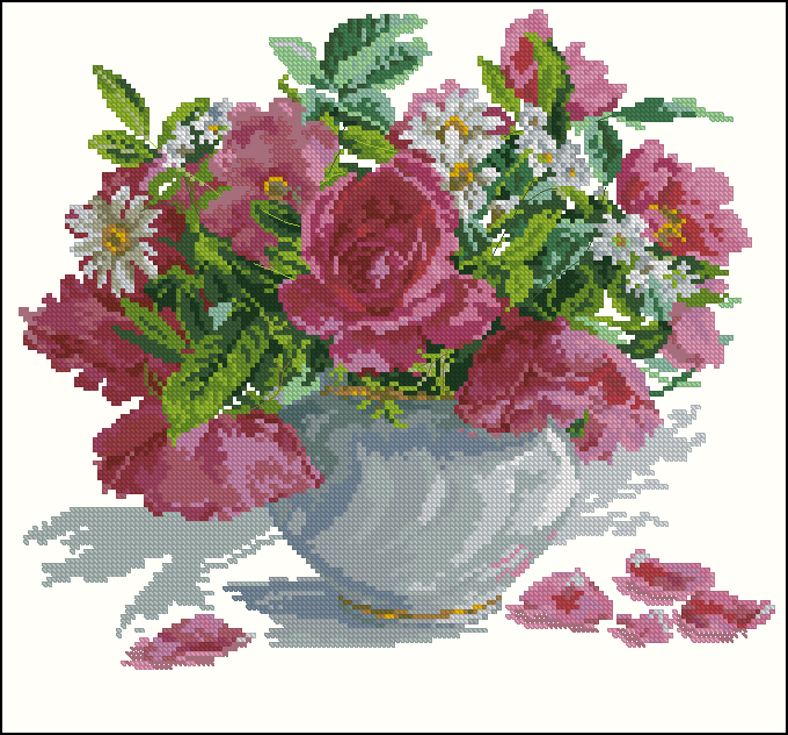 Розы и ромашки170x158