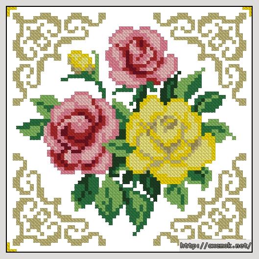 Розы72x72 крестов12 цветов