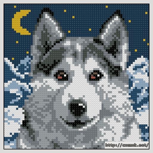 схема вышивки бисером волк