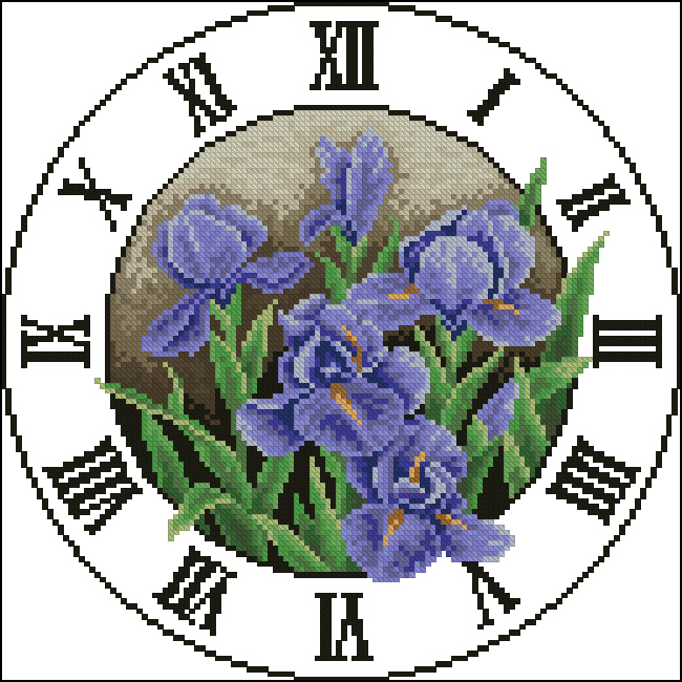 Ирисы130x130 крестов21 цветов .