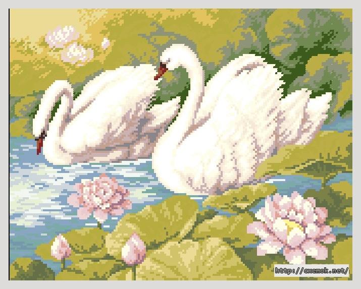 Лебеди180x140 крестов37 цветов