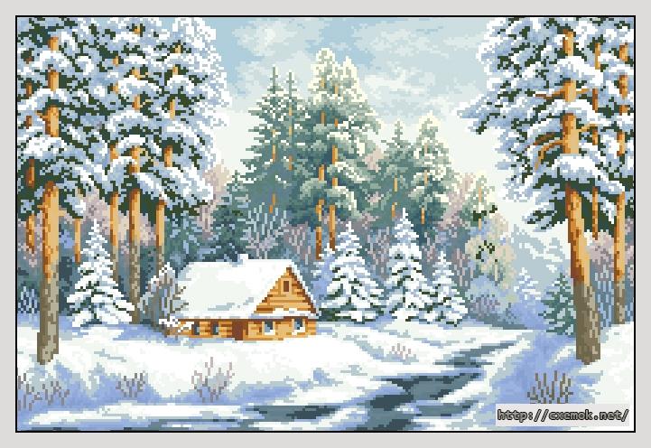 Вышивка крестом зимний пейзаж 63