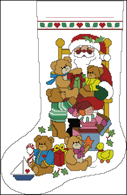Скачать схему вышивки yuletide bears - teddy with santa stocking