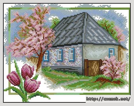 Весна в деревне140x110